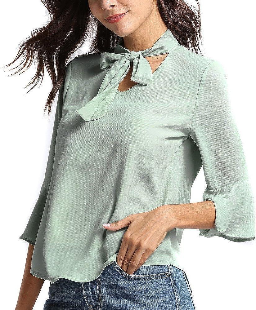 weant T-Shirt Donne Maglietta Donna Manica Corta Girocollo Tinta Unita Scollo a V Tunica Cime Camicie Camicetta Blusa Tunica Tops Sciolto Estate Primavera Elegante Casual Maglietta