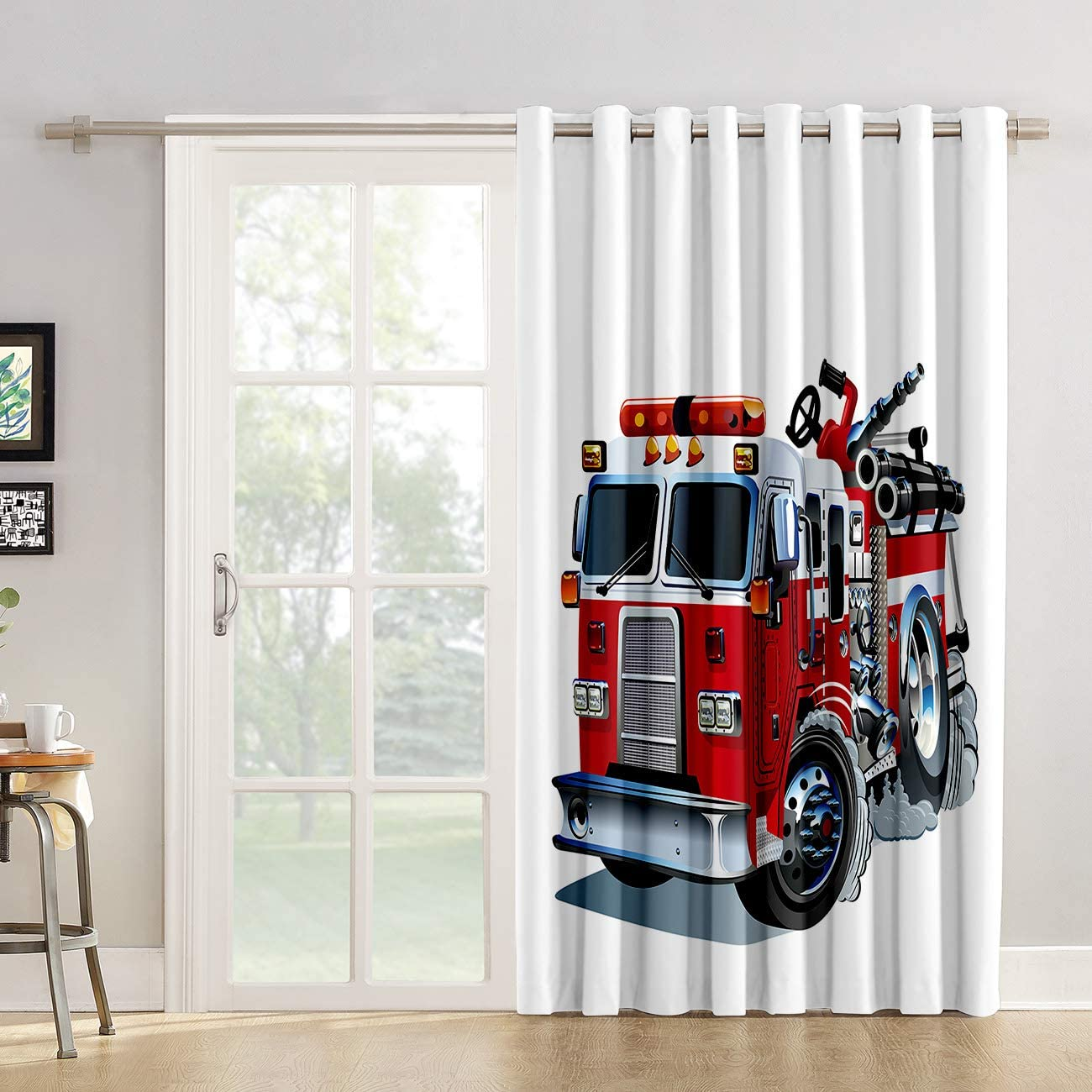 Red Vow Window Treatment Curtain 63 Inch Length - Chic Window Drapes Panel for Living Room Bedroom - Fire Truck Model Lover Patterned Polyester Fabric Draperies