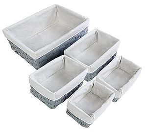 Juvale Nesting Basket - 5-Piece Utility Storage Baskets, Light Gray Wicker Decorative Organizing Baskets, Baskets Shelves for Kitchen, Bathroom Bedroom - 2 Small, 2 Medium, 1 Large
