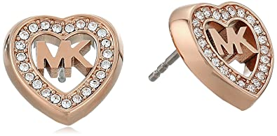 27acaa47799a Michael Kors Women s Love Is In The Air Pave Heart Stud Earrings Rose Gold  One Size