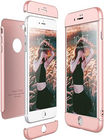 CE-Link Cover per Apple iPhone 8 Plus 360 Gradi Full Body Protezione, Custodia iPhone 8 Plus Silicone Rigida 3 in 1 Cover iPhone 8 Plus - Oro Rosa