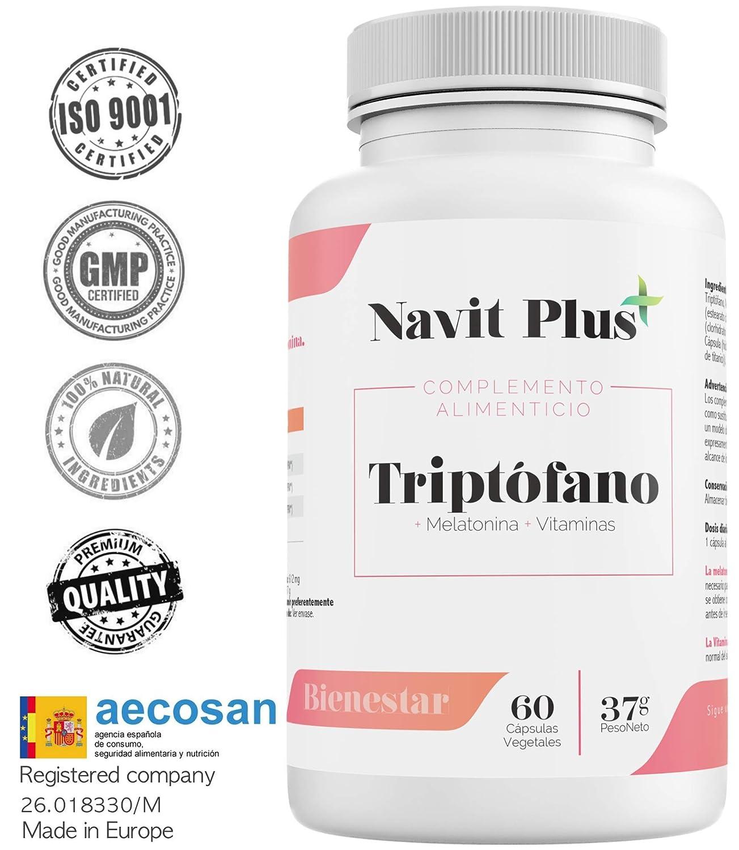 L-Triptófano de Navit Plus. Triptófano 500 mg + B6 + B3 + B2 + Melatonina |60 cápsulas vegetales | Tratamiento 2 meses | Complemento alimenticio para ...