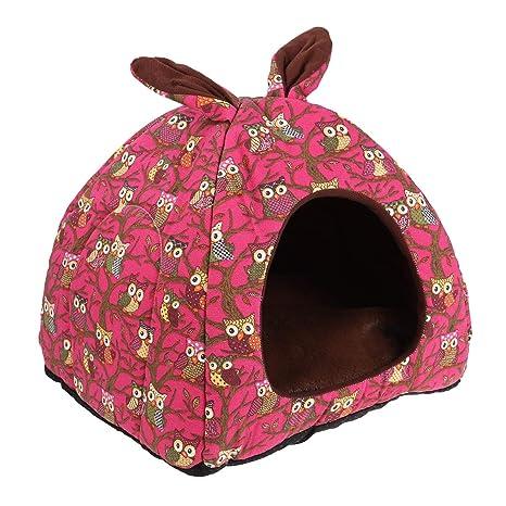 POPETPOP Casa de Caliente para Mascotas, Plegable Perrera, 2 en 1 Igloo Invierno para