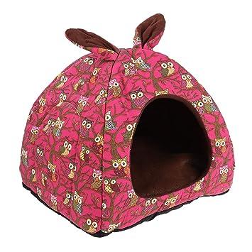 POPETPOP Casa para Gatos, Cama 2-en-1 Forma de Cueva Plegable, Cueva Suave con Cojín Extraíble para Gatos y Perros Pequeños (Búho, Rosado): Amazon.es: ...
