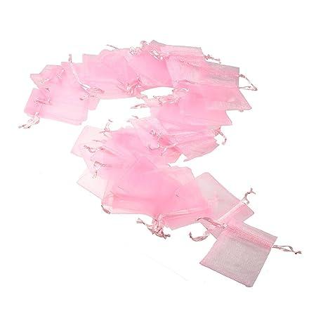 JZK 50 x Bolsa Organza Rosa para Joyas pequeñas Otras materias primas pequeñas Detalle Boda cumpleaños Baby Shower y Many Occasions, 7 x 9 cm