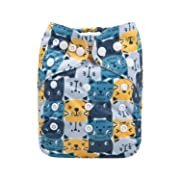 Alva Baby Cloth Diaper One Size Adjustable Reuseable Washable Nappy One Pack with 2 Inserts (YX33, Cartoon cat)