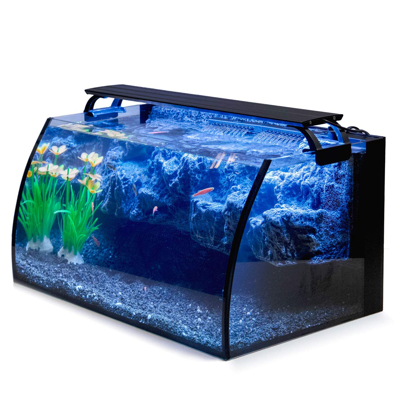 Hygger Horizon 8 Gallon LED Glass Aquarium Kit for Starters with 7W Power Filter Pump, 18W Colored led Light, Wide View Curved Shape Fish Tank with Undetachable 3D Rockery Background Decor by Hygger