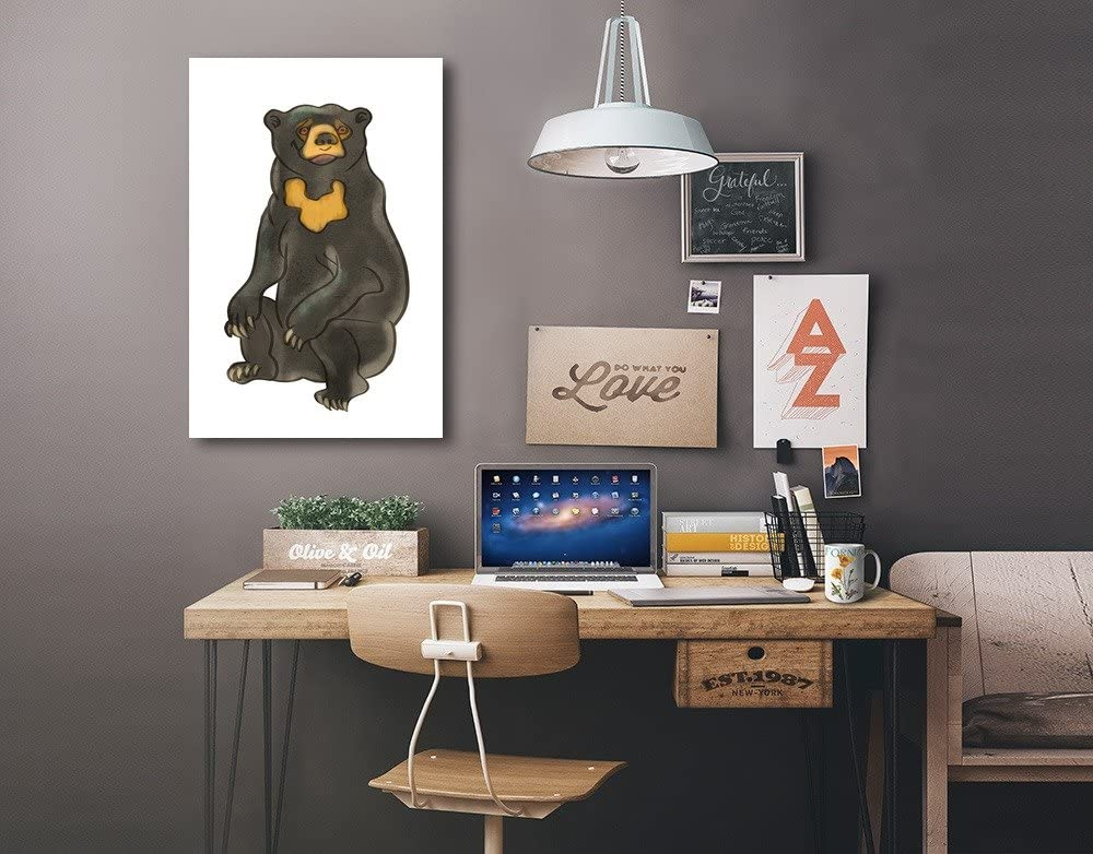 24x36 Gallery Quality Metal Art Soft Cartoon Lantern Press Sun Bear
