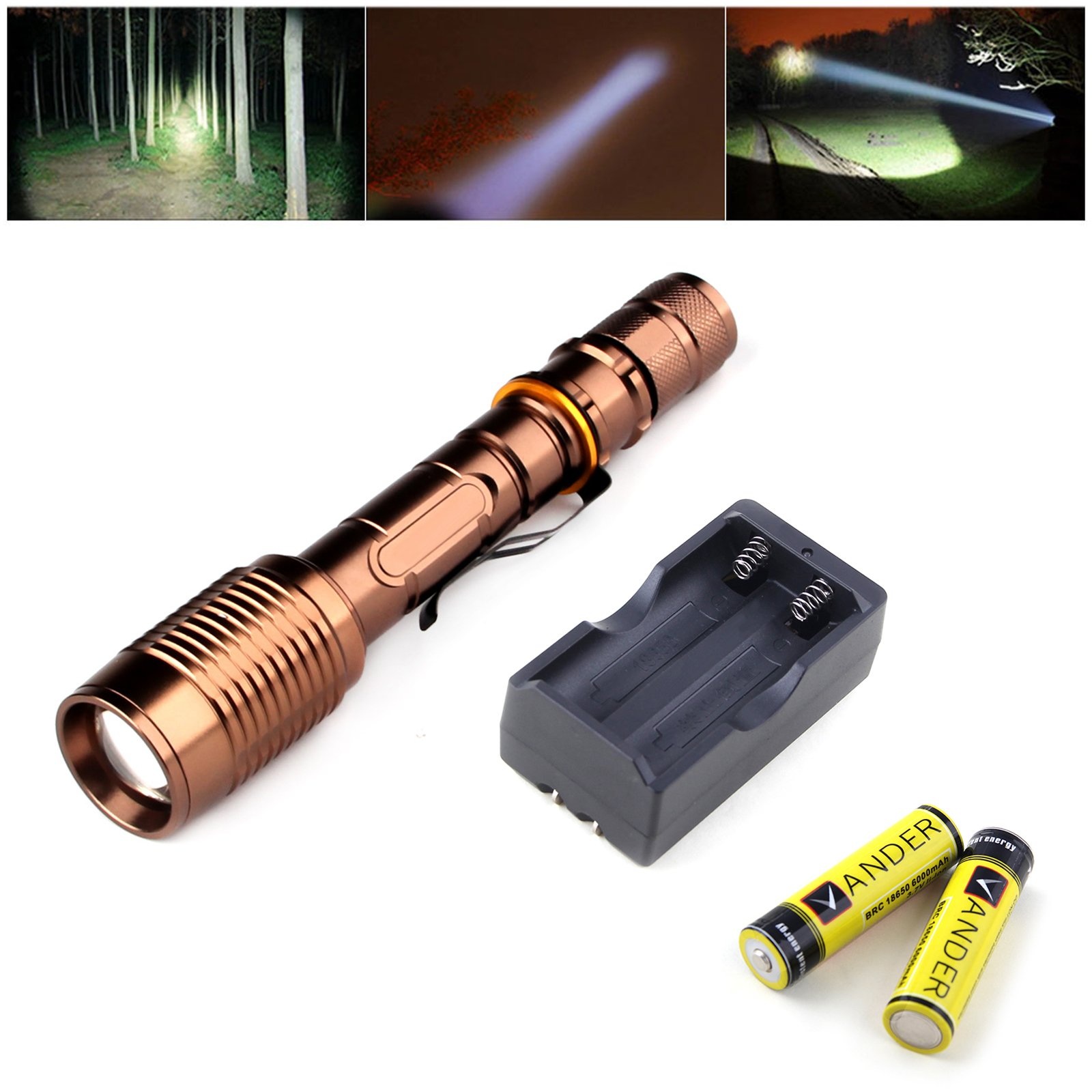 Vander 5 Modes Tactical Flashlights XM-L T6 LED 20000LM Zoomable 5-Mode Bronze Flashlight Torch 2x18650 Batteries Charger by Vander