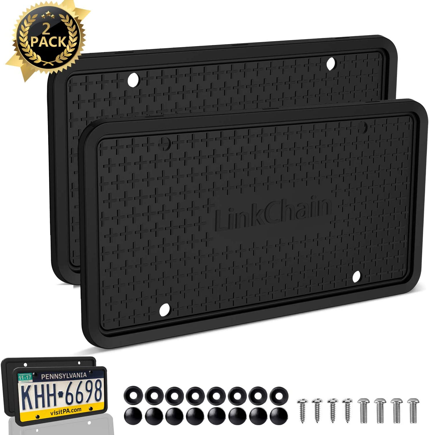 Weather-Proof and Rattle-Proof License Plate Frame for Car Black License Plate Frame,2PCS Silicone License Plate Frame with Drainage Holes ,Rust-Proof