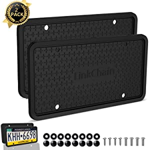 License Plate Frame,2PCS Silicone License Plate Frame with Drainage Holes ,Rust-Proof, Weather-Proof and Rattle-Proof License Plate Frame for Car - Black