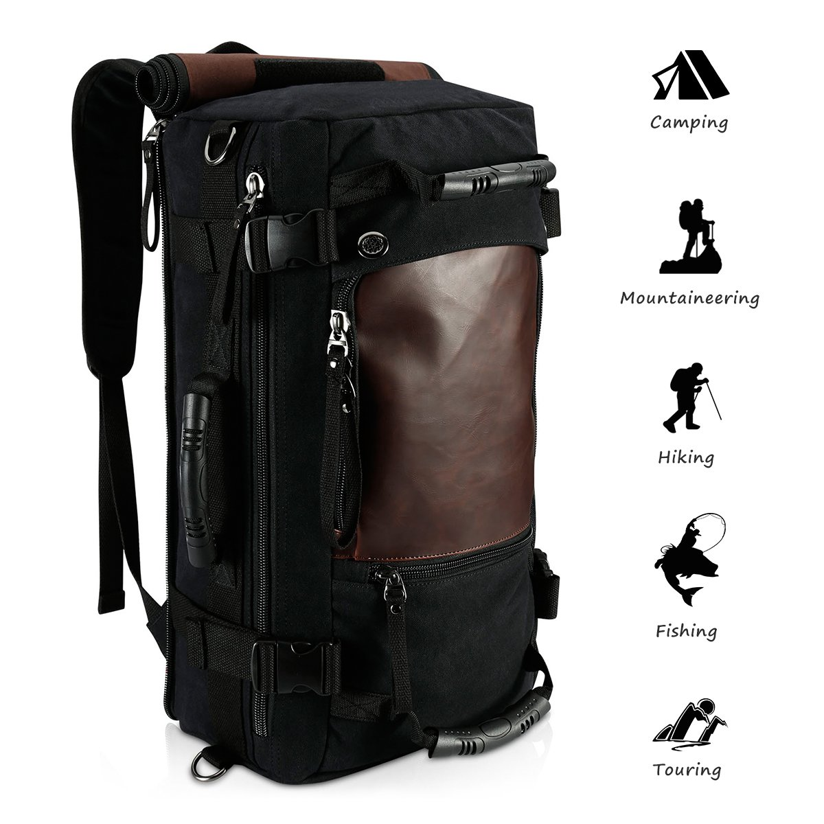 Amazon.com  Ibagbar Canvas Backpack Travel Bag Hiking Bag Rucksack Duffel  Bag Laptop Backpack Computer Bag Camping Bag Sports Bag Weekend Bag  Briefcase Bag ... 955c8d0e1f260
