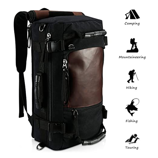 067b742fd24c Amazon.com  Ibagbar Canvas Backpack Travel Bag Hiking Bag Rucksack Duffel  Bag Laptop Backpack Computer Bag Camping Bag Sports Bag Weekend Bag  Briefcase Bag ...