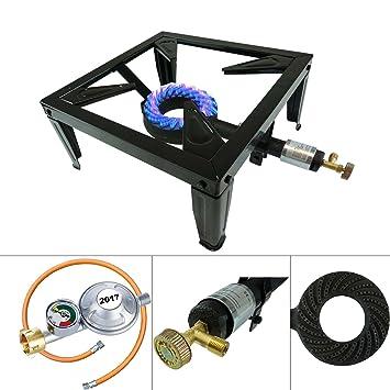 4 Fuss Turbo 10,5 kW Gas taburete eléctrica Regulador de presión de gas quemador de gas para ahumar: Amazon.es: Deportes y aire libre