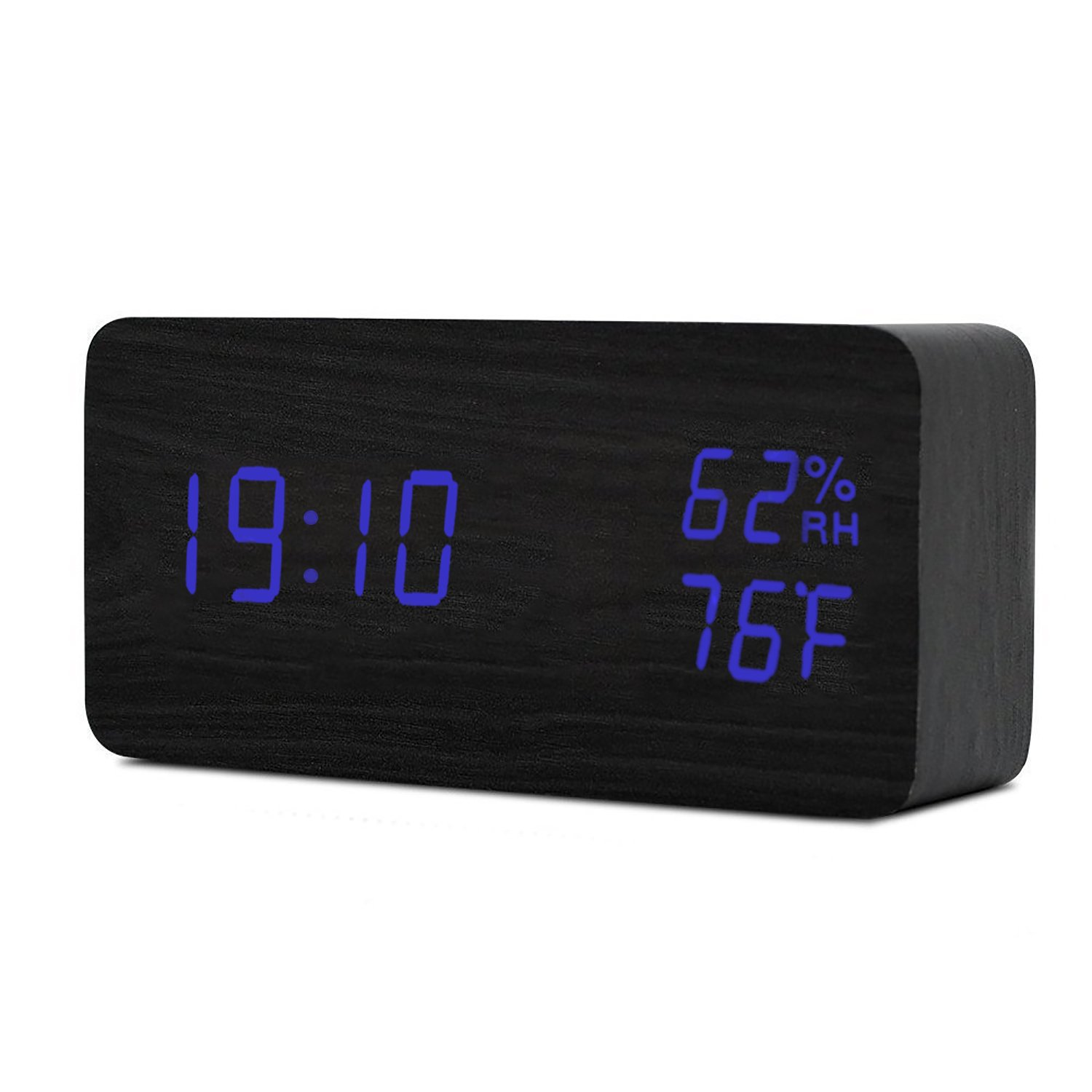 Digital Alarm Clock, LED Wooden Alarm Clock with Time Temperature Humidity Display, Voice Activated & 3 Levels Adjustable Brightness Dimmer, Electronic Table Clock for Beside Bedroom (Blue Light)