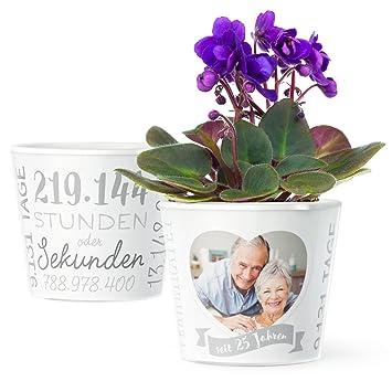 Facepot Silberhochzeit Geschenk Blumentopf O16cm Deko Geschenke
