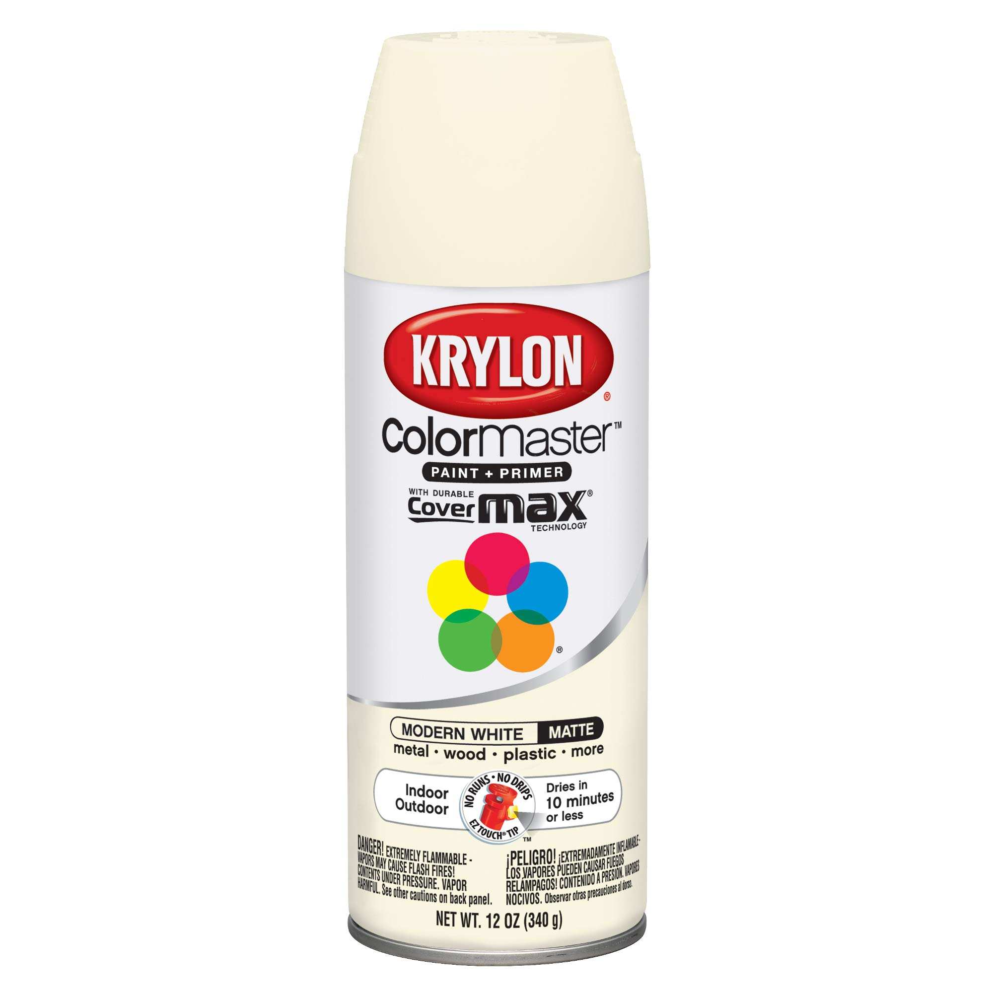 Krylon K05358007 ColorMaster Primer Aerosol Paints, 12 oz, Modern White