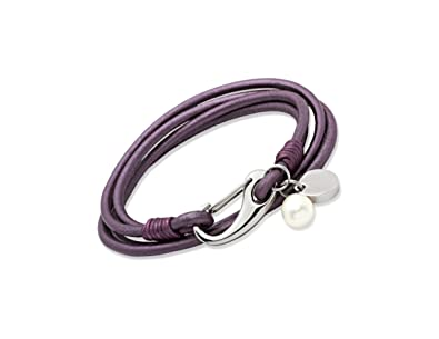 Unique & Co. Ladies 19cm Black Leather Bracelet with Rose Gold Plated Steel Shrimp Clasp and Disc Charm 6jBNUtx