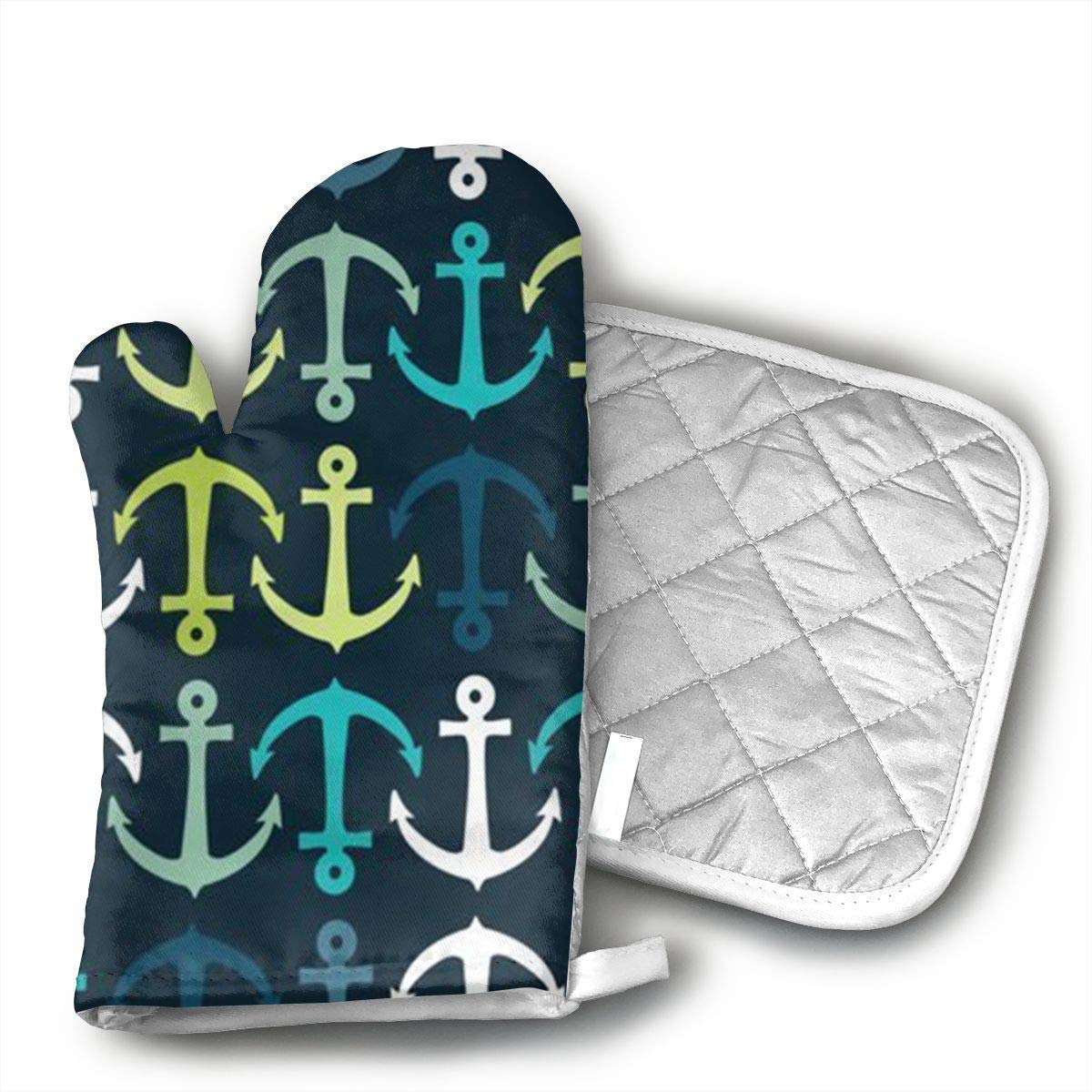 Unique Nautical Navy Anchor Oven Mitts,Professional Heat Resistant Microwave BBQ Oven Insulation Thickening Cotton Gloves Baking Pot Mitts Soft Inner Lining Kitchen Cooking