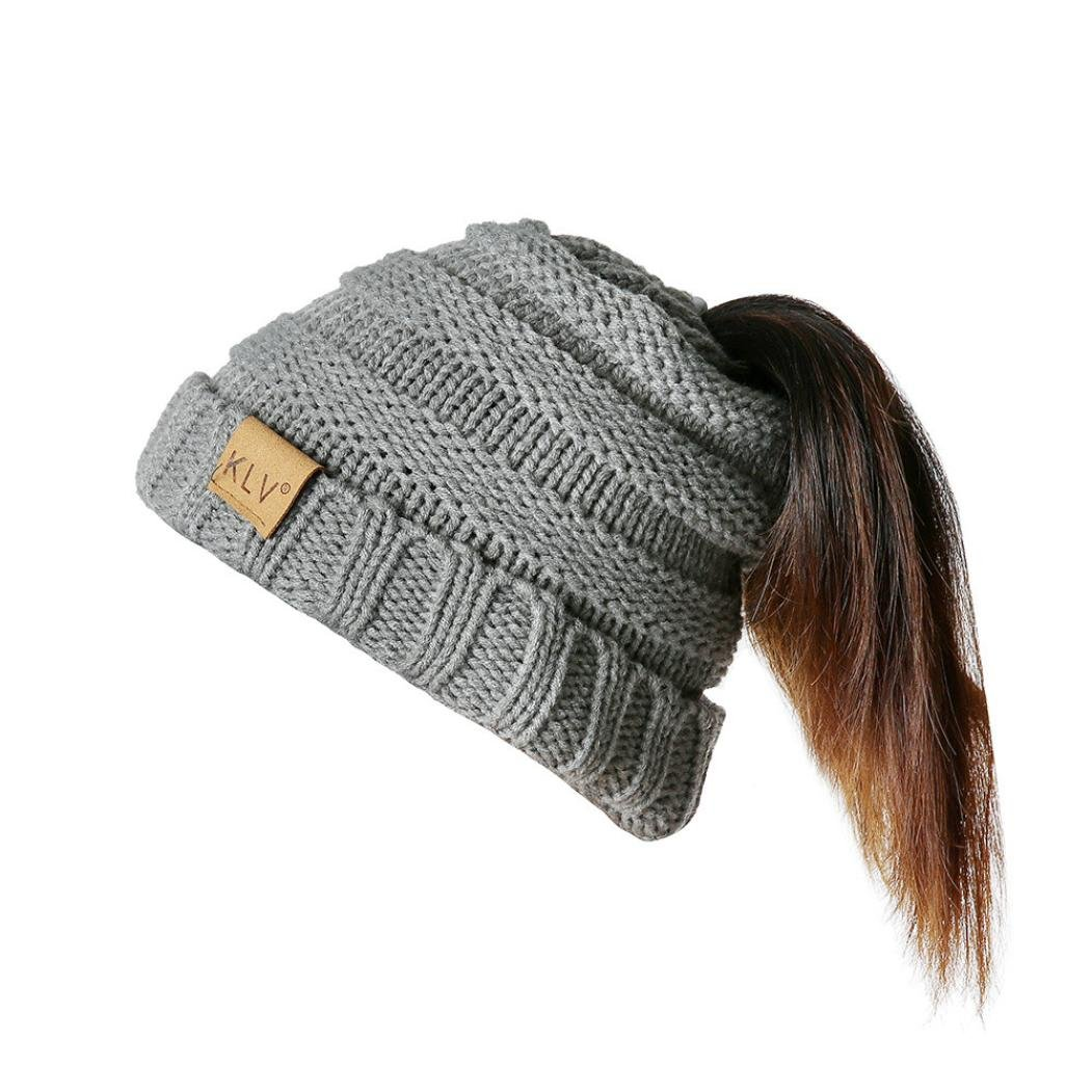 cfabd2dc1 SUKEQ Soft Stretch Cable Knit Messy High Bun Ponytail Beanie Hat ...
