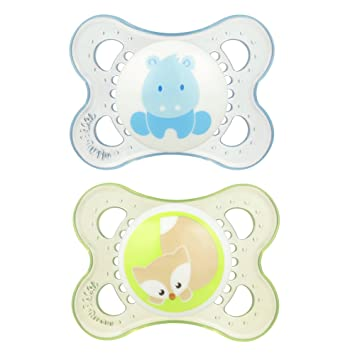 MAM Pacifiers, Baby Pacifier 0-6 Months, Best Pacifier for Breastfed Babies, Animal Design Collection, Boy, 2-Count