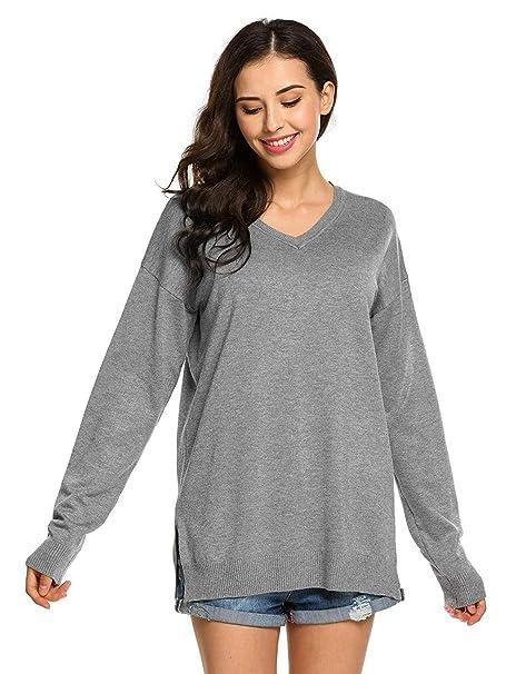 Elodiey Mujer Pullover Punto Pin-Up Hippie Primavera Joven Otoño Sweater Colores Sólidos V Cuello Manga Larga Abiertas Pullover Sudaderas Women: Amazon.es: ...