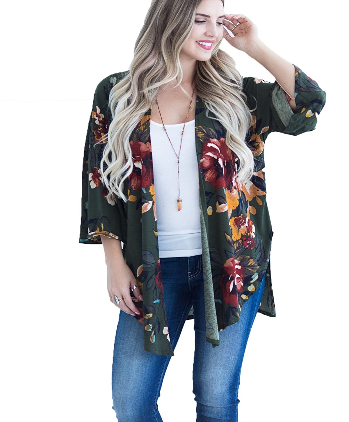 She-life Women's 3 4 Sleeve Casual Floral Cardigan Open Draped Front Kimono Tops With Side Slits SL0016_AG_S