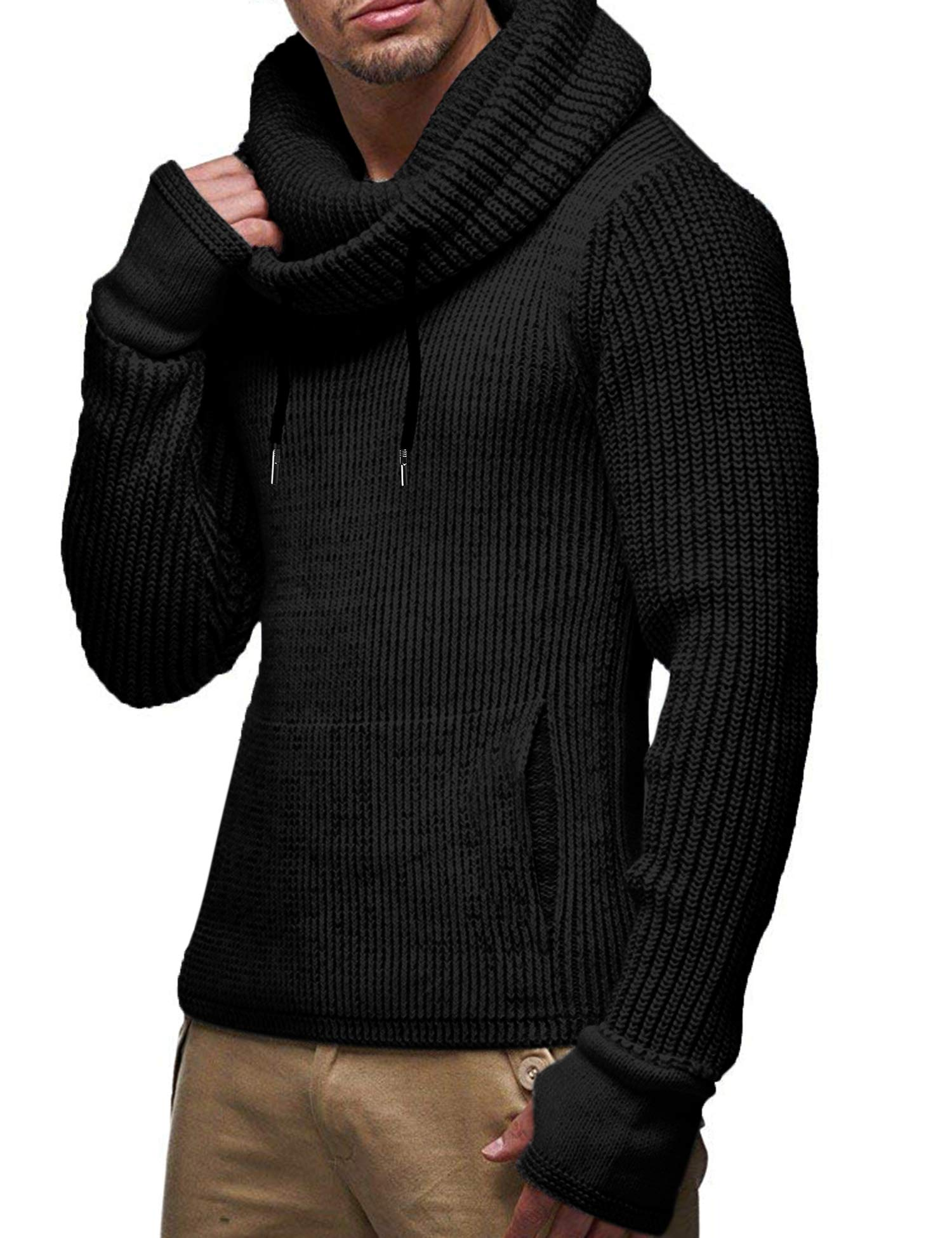 COOFANDY Mens Knitted Pullover Jumper Turtleneck Long Sleeve Slim Fit Sweater by COOFANDY