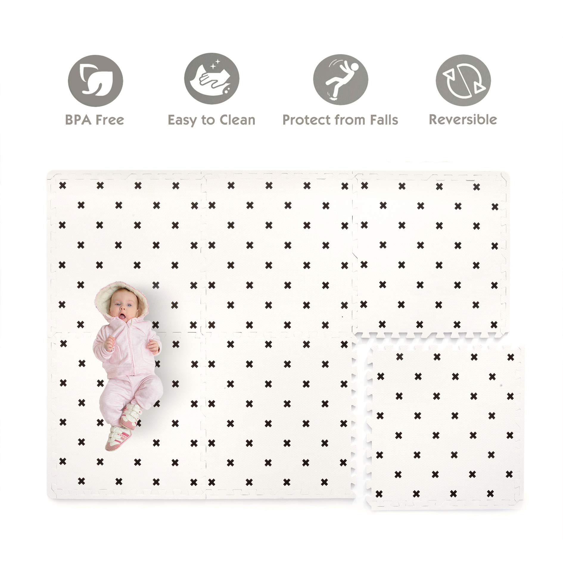 Baby Play Mat Non Toxic Foam Puzzle Floor Mat for Kids by TCBunny