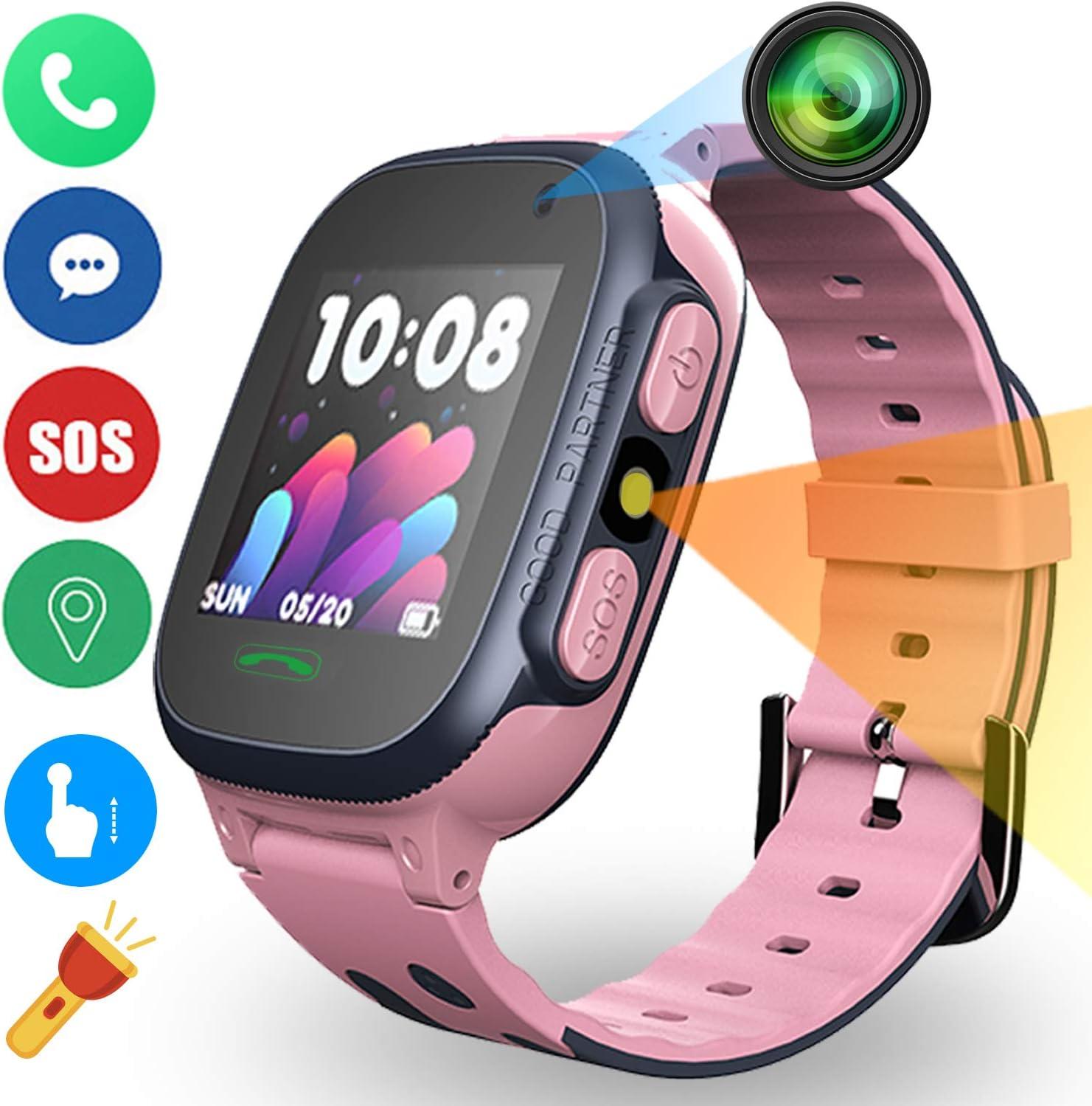 Niños Inteligente Relojes Telefono Estudiante, Relojes Smart Lata Realiza LBS Tracker Posicionamiento SOS Ranura para Tarjeta de Juego Juego de Reloj Inteligente, Regalo Infantil de 3 a 12 Años(Rosa)