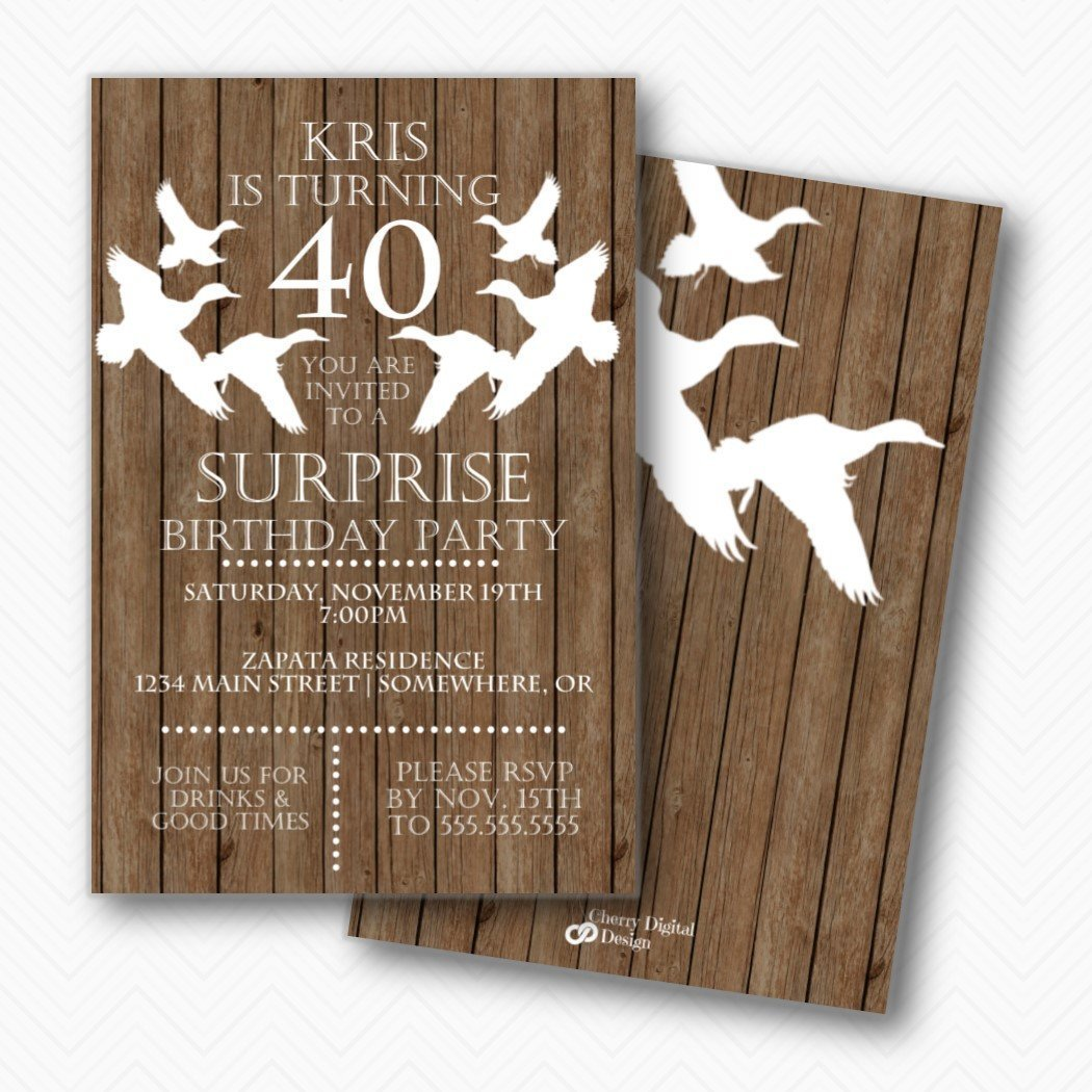 Amazon Rustic Wood Duck Hunter 40th Birthday Party Invitations