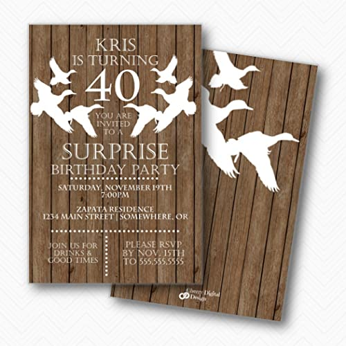 Amazon Com Rustic Wood Duck Hunter 40th Birthday Party Invitations