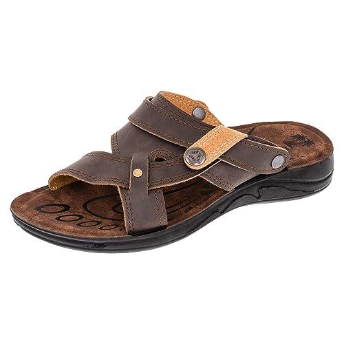 Herren Malibu Hausschuhe Sandalen Pantoffel Latschen mit umklappbarem Riemen