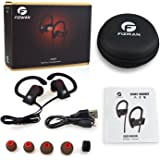 Bluetooth Headphones Wireless Earbuds Bluetooth Headset With Mic Sports Earphones and a Sweatproof , Noise Cancellation feature for, Running ,Exercise and it can pair with Any Device (black/red)