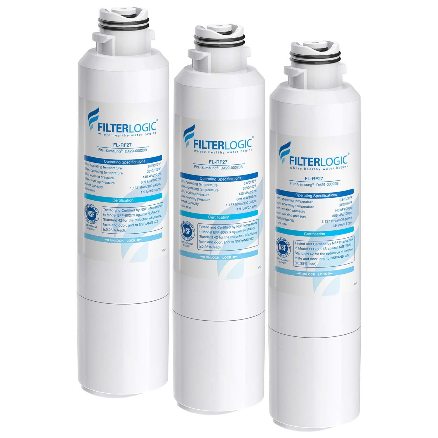 FilterLogic DA29-00020B Refrigerator Water Filter, Replacement for Samsung HAF-CIN, HAF-CIN/EXP, DA29-00020A/B, DA97-08006A, DA2900020B, RF28HMEDBSR, RF4287HARS, 3 Filters, Package may vary