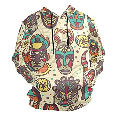 e1b68316f77593 Image Unavailable. Image not available for. Color  Men s Hoodies Sweatshirt  Vintage Tribal Mask Colorful Ethnic Long Sleeve Pullovers