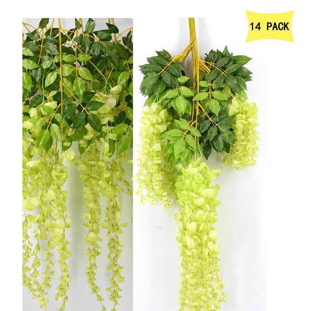 14 Pack 3.6 Feet/Piece Artificial Silk Wisteria Vine Ratta Hanging Flowers Party Wedding Decor (Green)