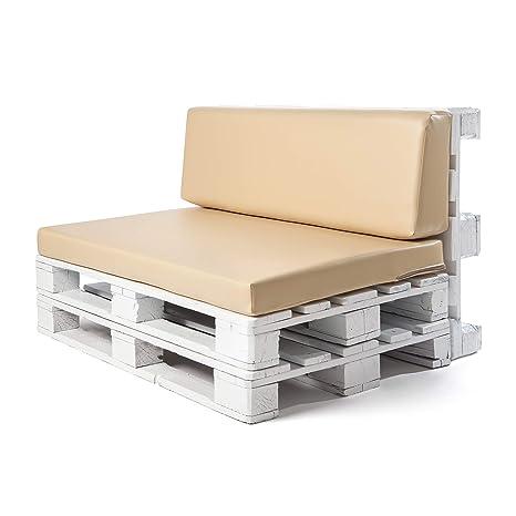 Conjunto colchoneta para sofas de palet y respaldo Beige (1 x Unidad) Cojin relleno con espuma. | Cojines para chill out, interior y exterior, jardin ...