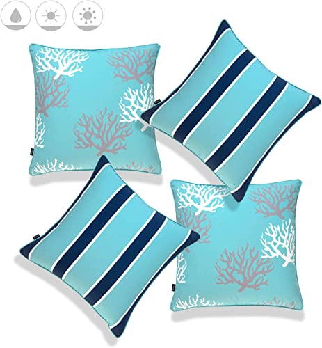 Hofdeco Beach Nautical Indoor Outdoor Pillow Cover ONLY, Water UV Resistant for Patio Lounge Sofa, Aqua Navy Coral Stripes, 18 x18 , Set of 4