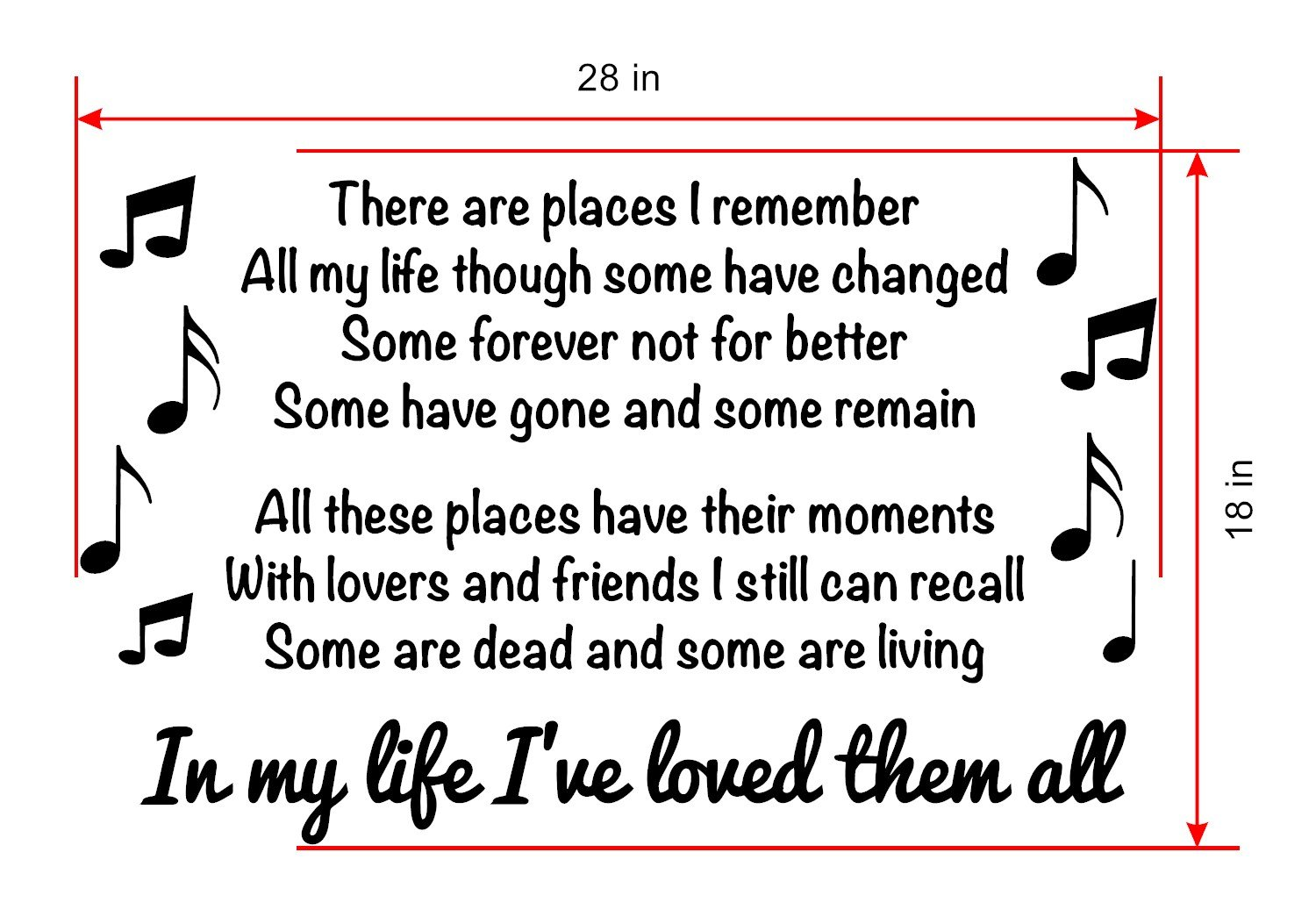 In My Life Beatles Wall Decal Is A Vinyl Wall Decal Displaying The Beatles In My Life Song Lyrics Black