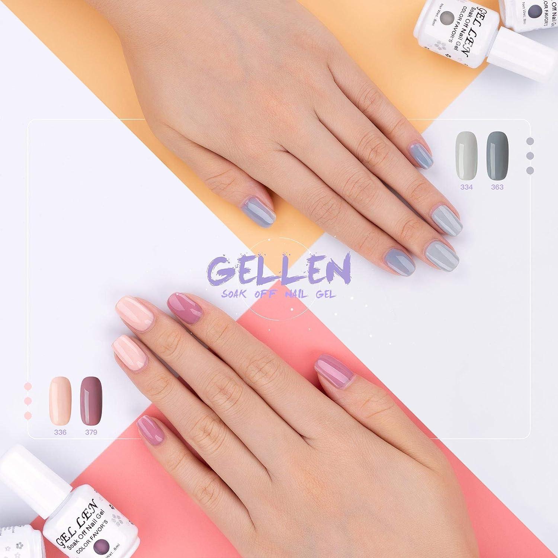 Esmalte de uñas de gel Gellen, set de regalo, esmalte de UV LED, 6 colores, 8 ml, 15 unidades: Amazon.es: Belleza