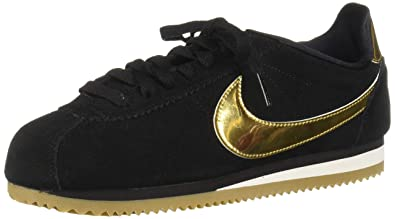 newest collection c0fab 2946d Nike Damen WMNS Classic Cortez Se Laufschuhe, Mehrfarbig (Black Metallic  Gold Phantom