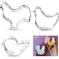 3 Pieces Chicken Cookie Cutter Set Stainless Steel Cookie Cutter, Rooster Hen and Chick Cookie Cutter Biscuit Mold for…