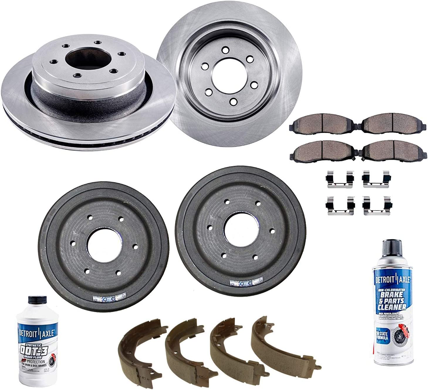 Detroit Axle - All (4) Front Disc Rotors and Rear Drum Brake Kit s w/Ceramic Pads w/Hardware & Brake Kit Cleaner & Fluid for 2009 2010 2011 2012 2013 Chevy Silverado 1500 / GMC Sierra 1500