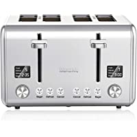 Willsence 4 Slice Toaster Stainless Steel Toaster Extra Wide Slots Bagel Toaster with 9 Bread Shade Settings, Bagel/Defrost/Cancel/Reheat Function, Removable Crumb Tray, 1800W, Silver
