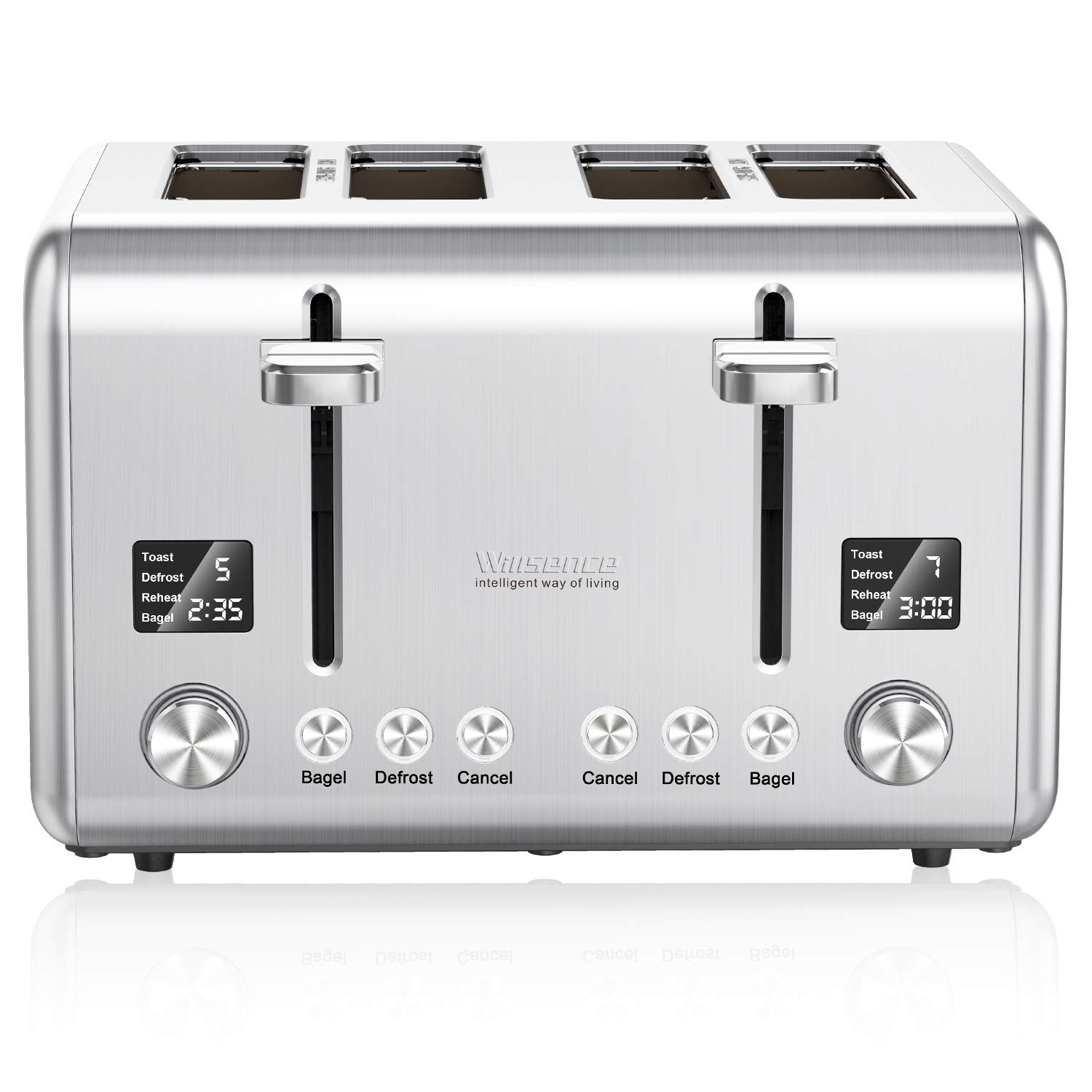 4-Slice Toaster, Willsence Stainless Steel Toaster 4 Slice Extra Wide Slots Bagel Toaster with 9 Bread Shade Settings, Bagel/Defrost /Cancel/Reheat Function, Removable Crumb Tray, 1800W, Silver