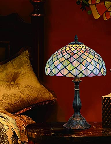 Lámpara de sobremesa de 12 pulgadas, lámpara de sobremesa, lámpara de mesa, vitral, vidrio de época