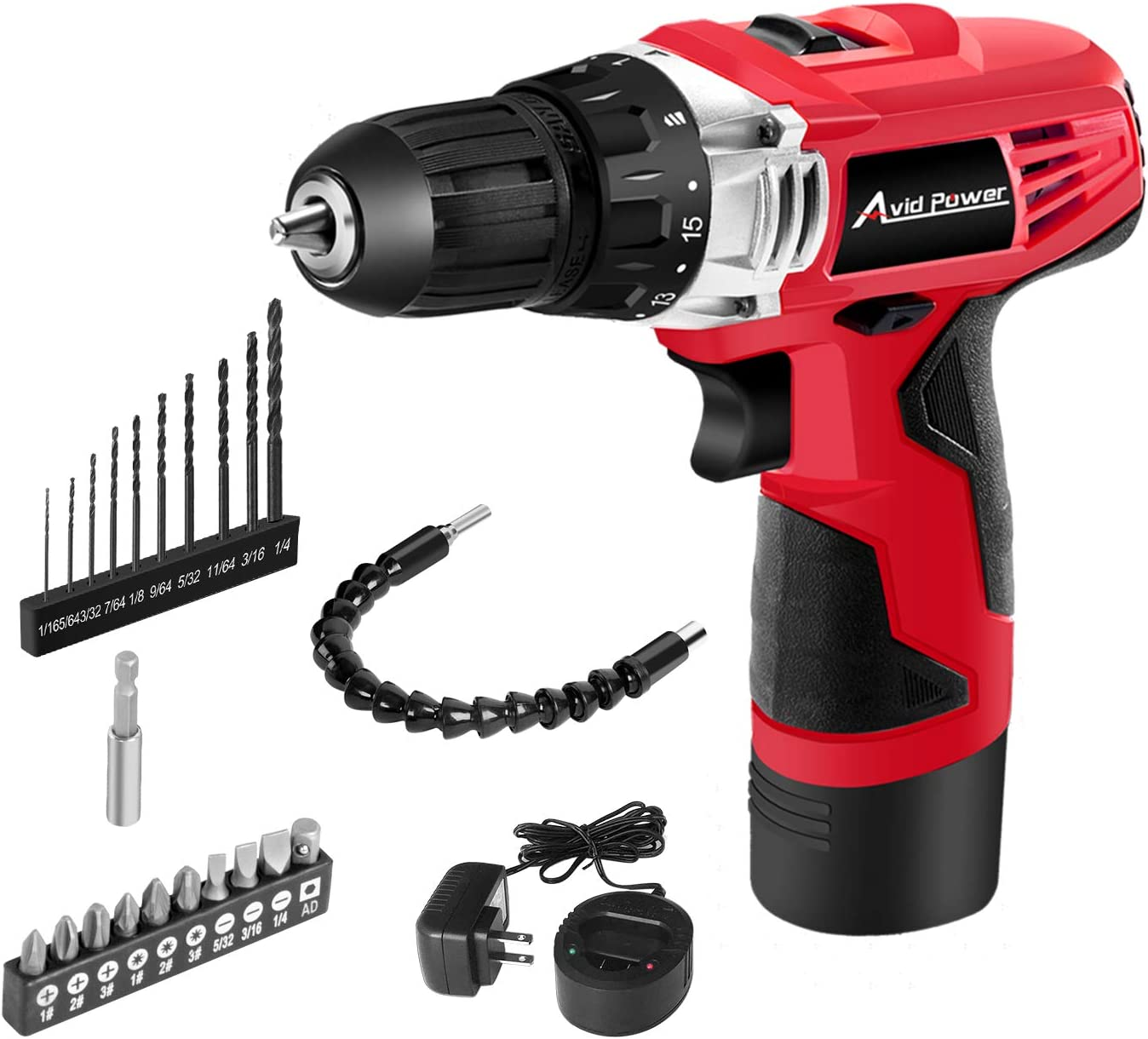 Avid Power 12V Cordless Drill, Power Drill Set with 22pcs Impact Driver Drill Bits, 15 1 Torque Setting, 3 8 inches Keyless Chuck, 2 Variable Speed