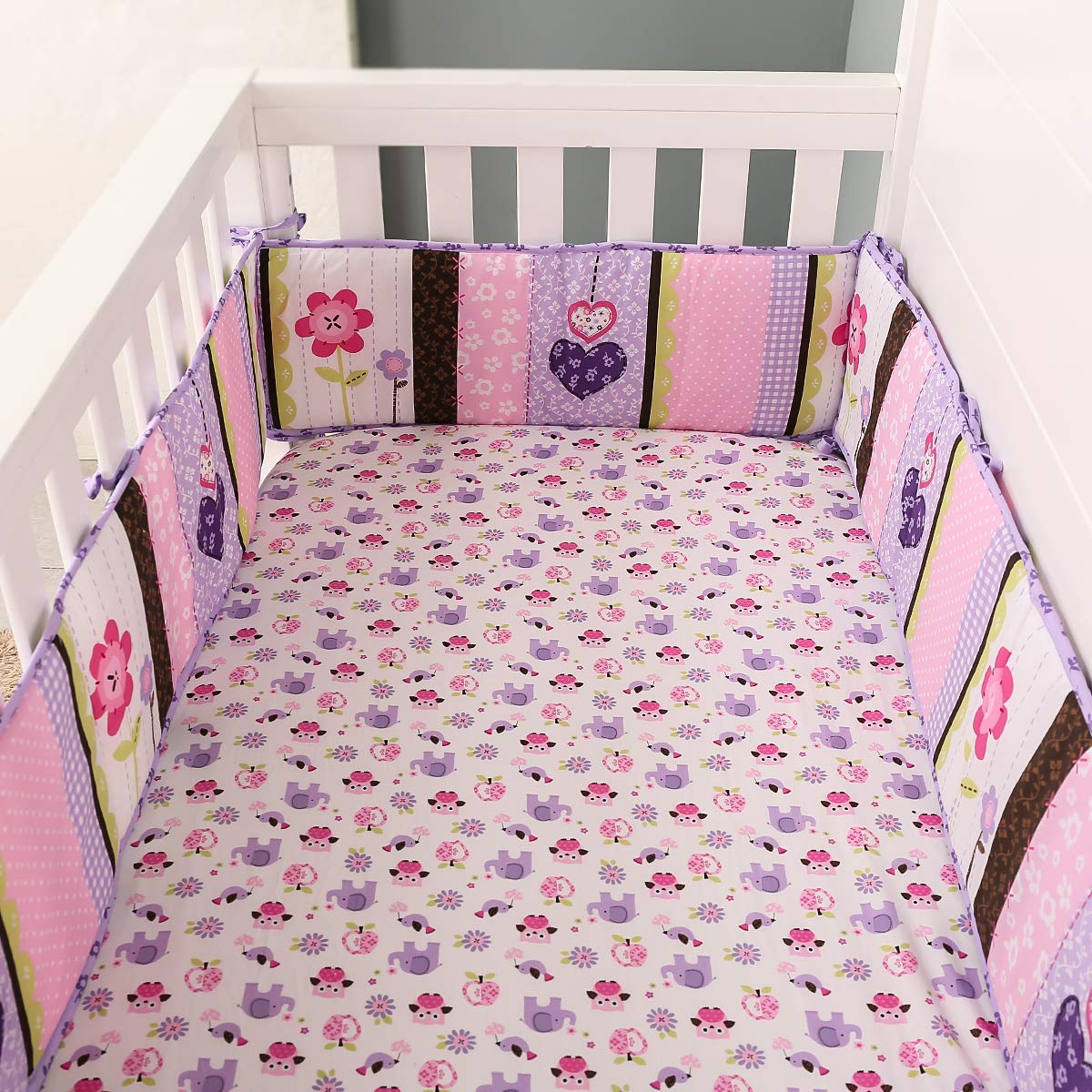 Heseam Baby Boy//Girl 4-Piece Breathable Mesh Cloth Crib Liner Protector Bumper Pad for Baby Crib Deluxe Crib Safety Guard Pad with Thick Padding,Nursery Bed Essential for Boys Elephant Purple