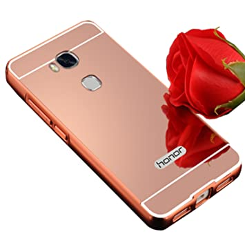 Funda Espejo Aluminio Metal Carcasa para Huawei Honor 5X Color Rosado
